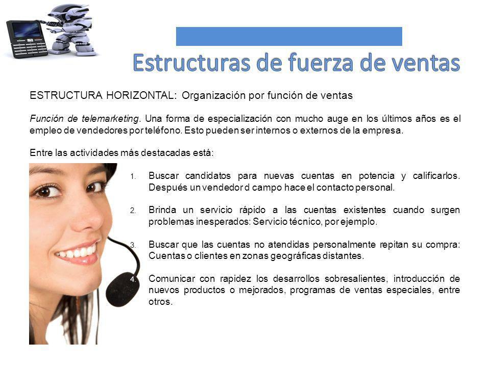 ESTRUCTURA HORIZONTAL: Organización por función de ventas Función de telemarketing. Una forma de especialización con mucho auge en los últimos años es