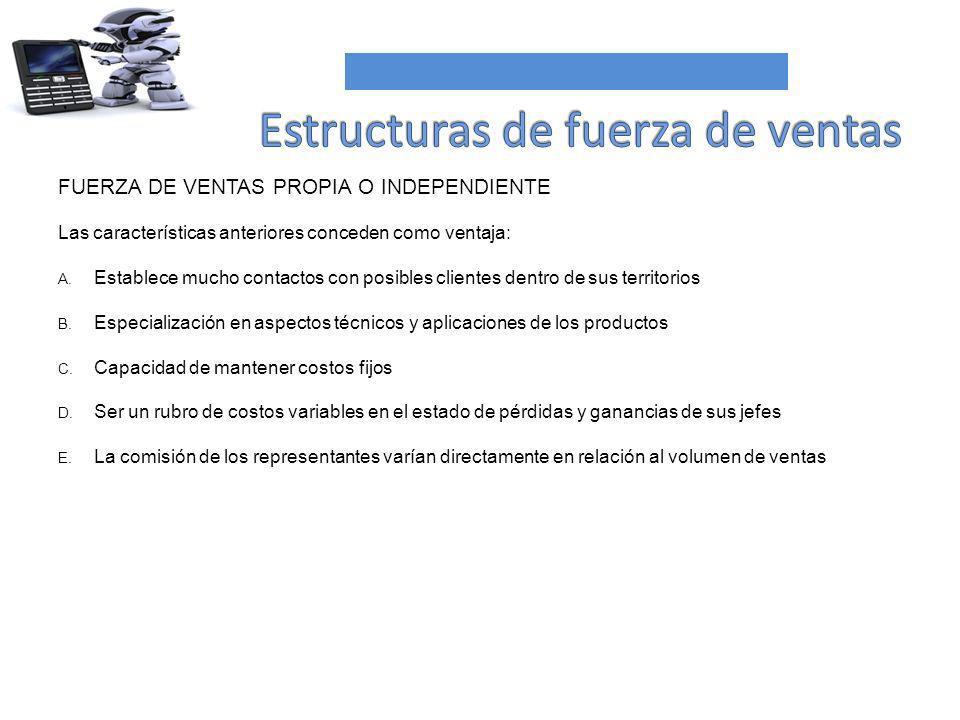 FUERZA DE VENTAS PROPIA O INDEPENDIENTE Las características anteriores conceden como ventaja: A. Establece mucho contactos con posibles clientes dentr