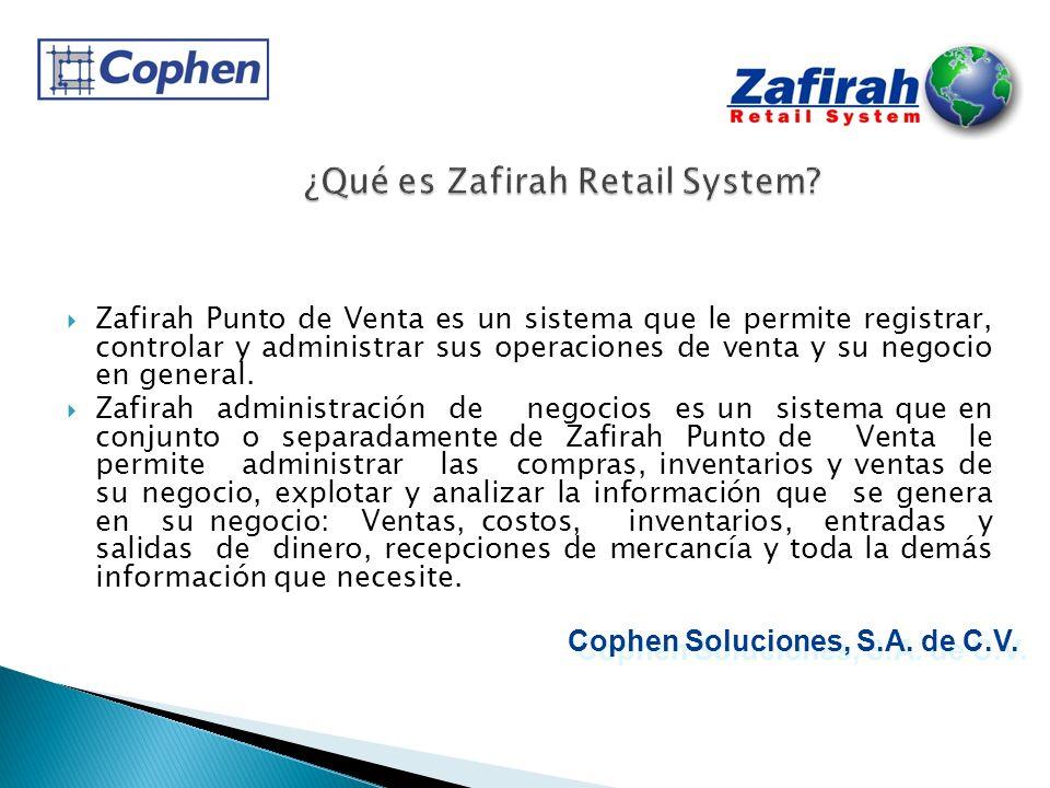 Zafirah Punto de Venta es un sistema que le permite registrar, controlar y administrar sus operaciones de venta y su negocio en general. Zafirah admin