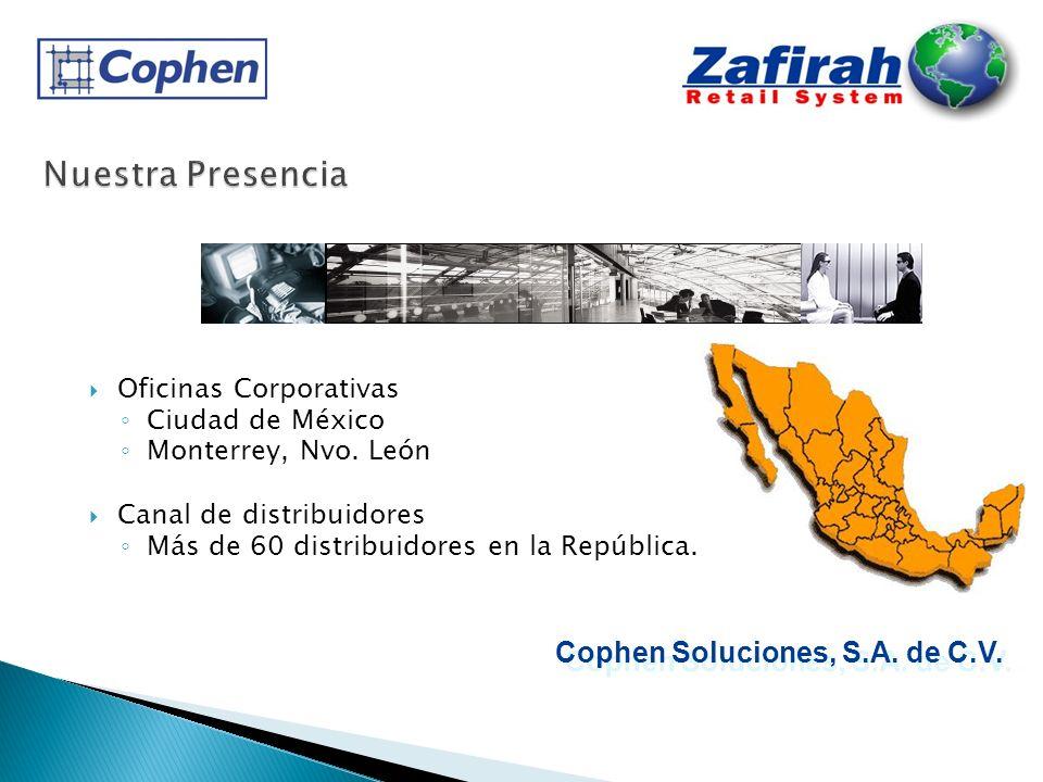 Oficinas Corporativas Ciudad de México Monterrey, Nvo. León Canal de distribuidores Más de 60 distribuidores en la República. Cophen Soluciones, S.A.
