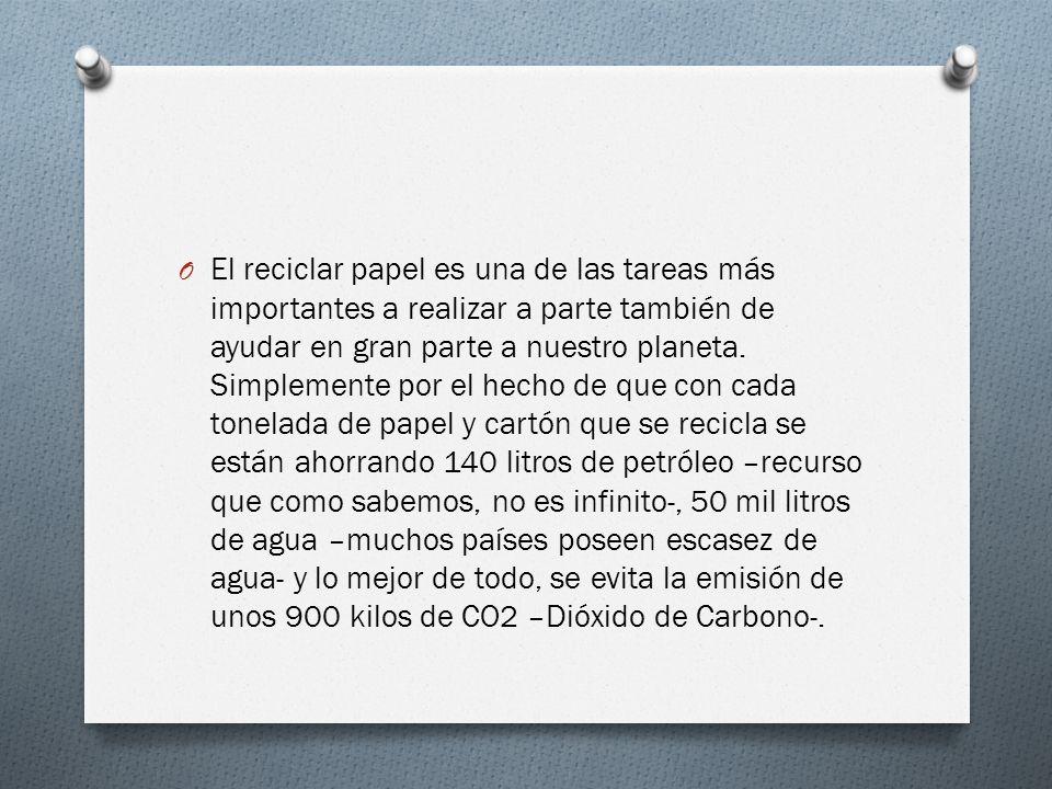 O El reciclar papel es una de las tareas más importantes a realizar a parte también de ayudar en gran parte a nuestro planeta.