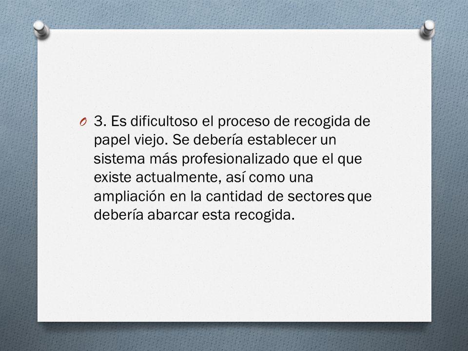 O 3. Es dificultoso el proceso de recogida de papel viejo. Se debería establecer un sistema más profesionalizado que el que existe actualmente, así co