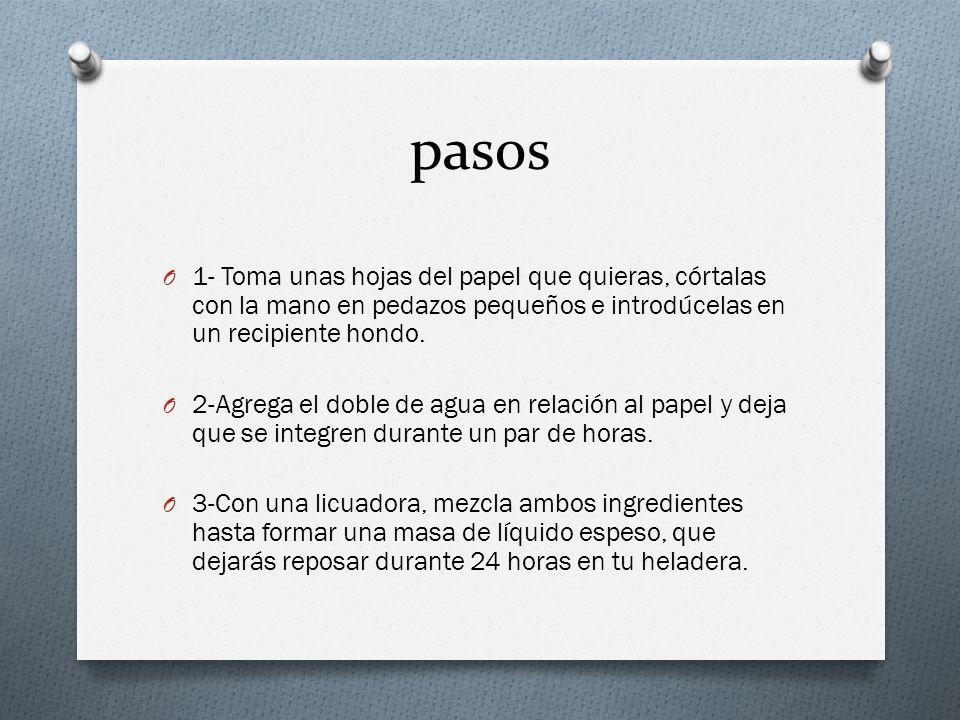 pasos O 1- Toma unas hojas del papel que quieras, córtalas con la mano en pedazos pequeños e introdúcelas en un recipiente hondo. O 2-Agrega el doble