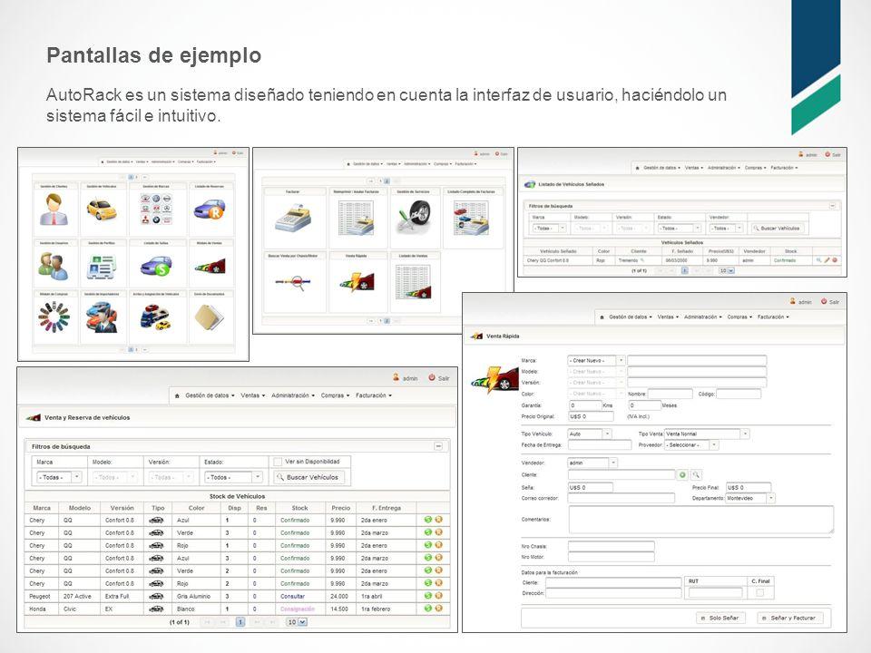 Pantallas de ejemplo AutoRack es un sistema diseñado teniendo en cuenta la interfaz de usuario, haciéndolo un sistema fácil e intuitivo.