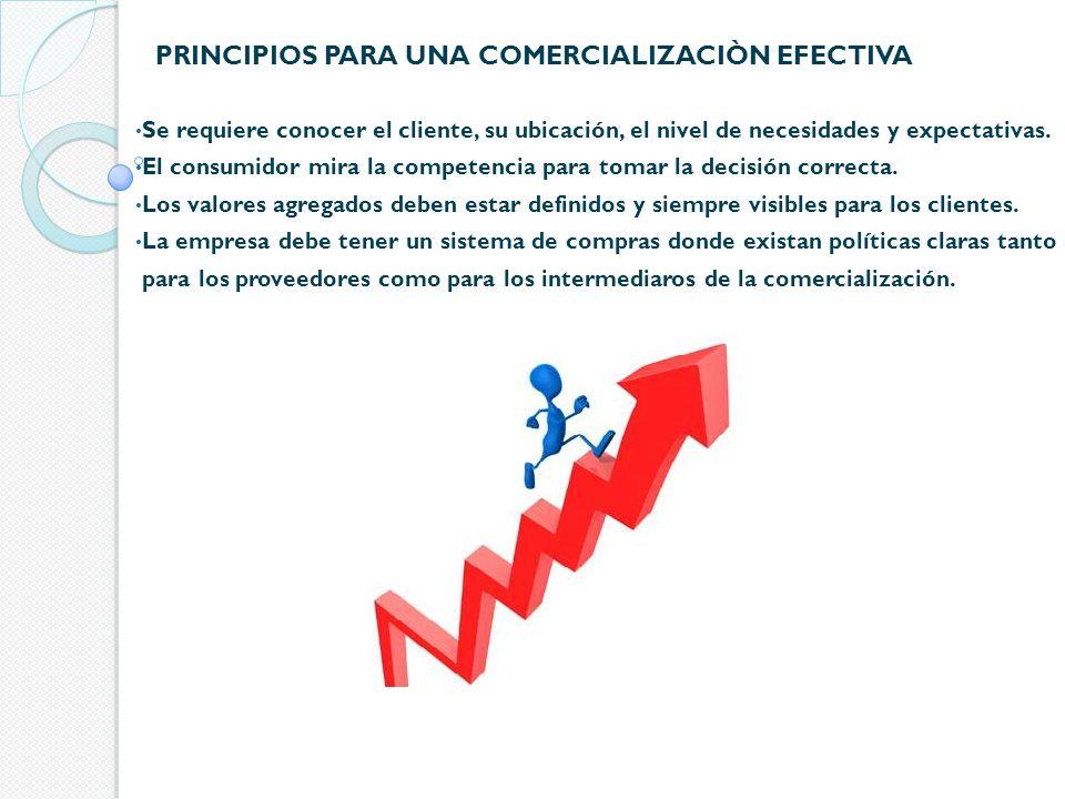PRINCIPIOS PARA UNA COMERCIALIZACIÒN EFECTIVA Se requiere conocer el cliente, su ubicación, el nivel de necesidades y expectativas. El consumidor mira