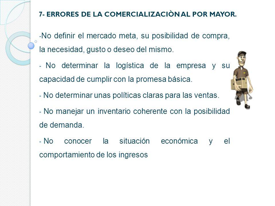 7- ERRORES DE LA COMERCIALIZACIÒN AL DETAL.- No controlar los riesgos del canal de distribución.