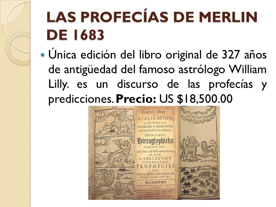 LAS PROFECÍAS DE MERLIN DE 1683 Única edición del libro original de 327 años de antigüedad del famoso astrólogo William Lilly. es un discurso de las p