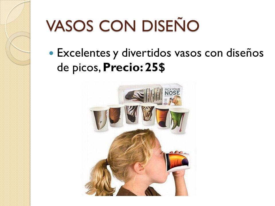 VASOS CON DISEÑO Excelentes y divertidos vasos con diseños de picos, Precio: 25$