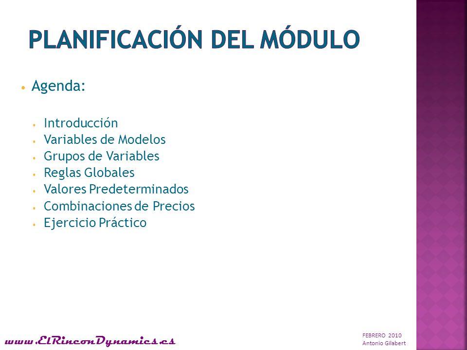 FEBRERO 2010 Antonio Gilabert www.ElRinconDynamics.es Agenda: Introducción Variables de Modelos Grupos de Variables Reglas Globales Valores Predeterminados Combinaciones de Precios Ejercicio Práctico