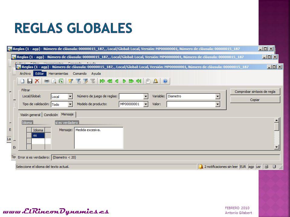 FEBRERO 2010 Antonio Gilabert www.ElRinconDynamics.es Permite definir valores por defecto para clientes y artículos incluyendo posibles configuraciones.
