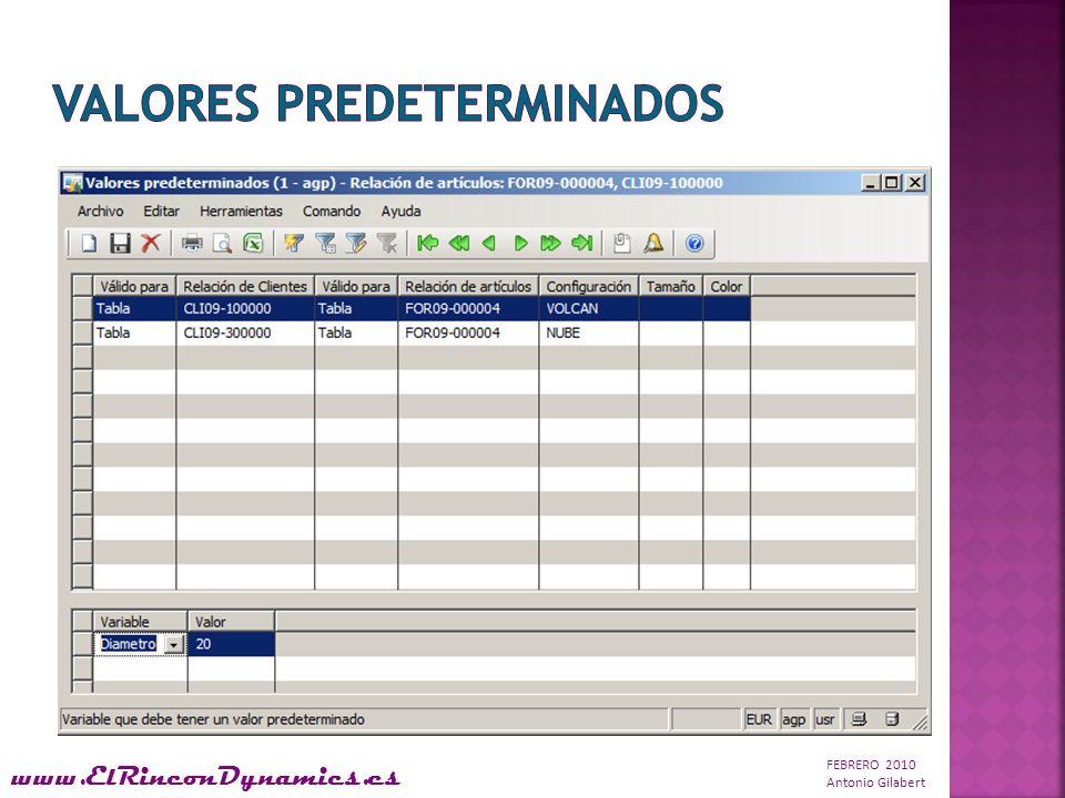 FEBRERO 2010 Antonio Gilabert www.ElRinconDynamics.es Una vez definido el modelo de producto y el cliente haya decidido qué componentes lo compondrá, MD AX crea una nueva Lista de Materiales con sus respectivas Rutas.