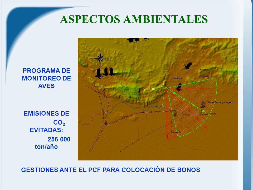 ASPECTOS AMBIENTALES GESTIONES ANTE EL PCF PARA COLOCACIÓN DE BONOS PROGRAMA DE MONITOREO DE AVES EMISIONES DE CO 2 EVITADAS: 256 000 ton/año