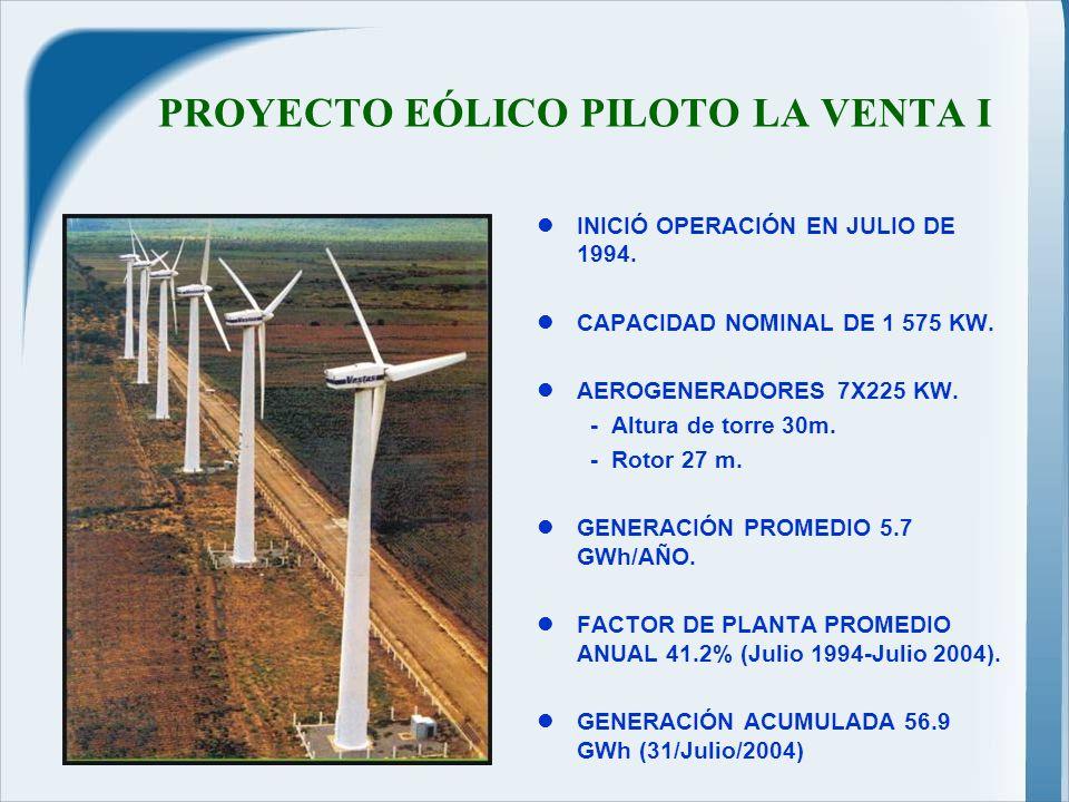 PROYECTO EÓLICO PILOTO LA VENTA I INICIÓ OPERACIÓN EN JULIO DE 1994.
