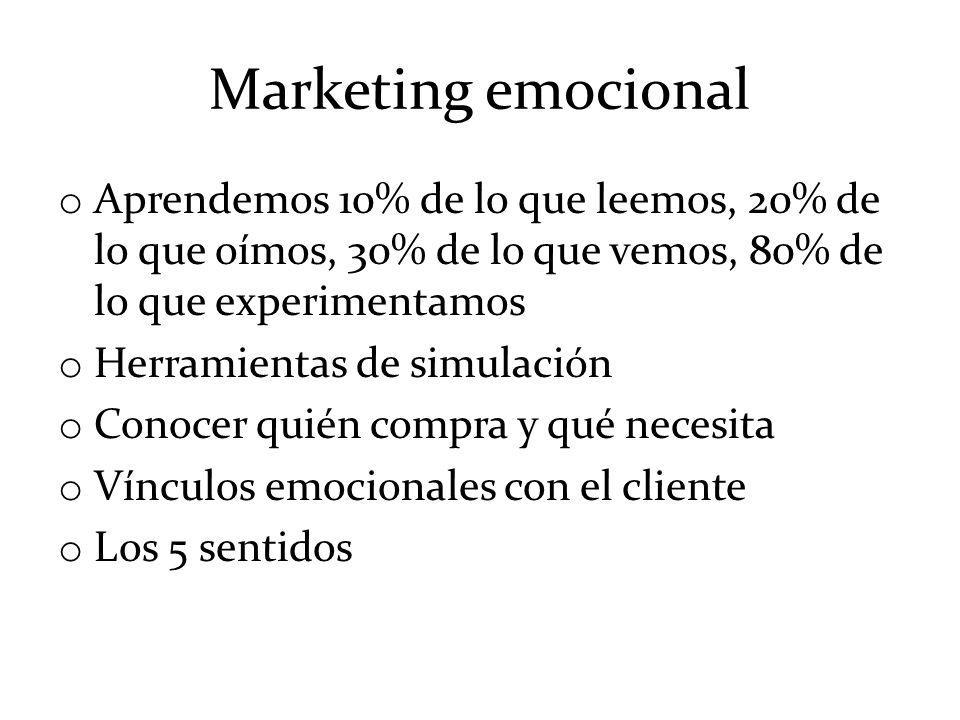 Marketing emocional o Aprendemos 10% de lo que leemos, 20% de lo que oímos, 30% de lo que vemos, 80% de lo que experimentamos o Herramientas de simula