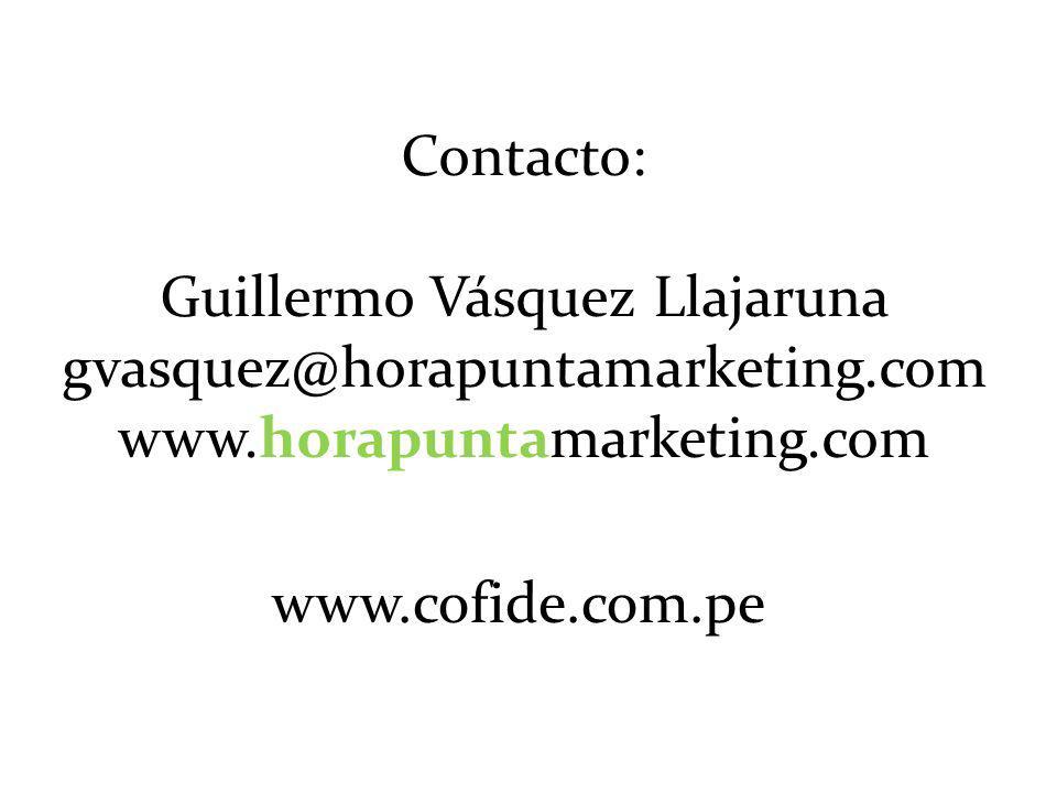 Contacto: Guillermo Vásquez Llajaruna gvasquez@horapuntamarketing.com www.horapuntamarketing.com www.cofide.com.pe
