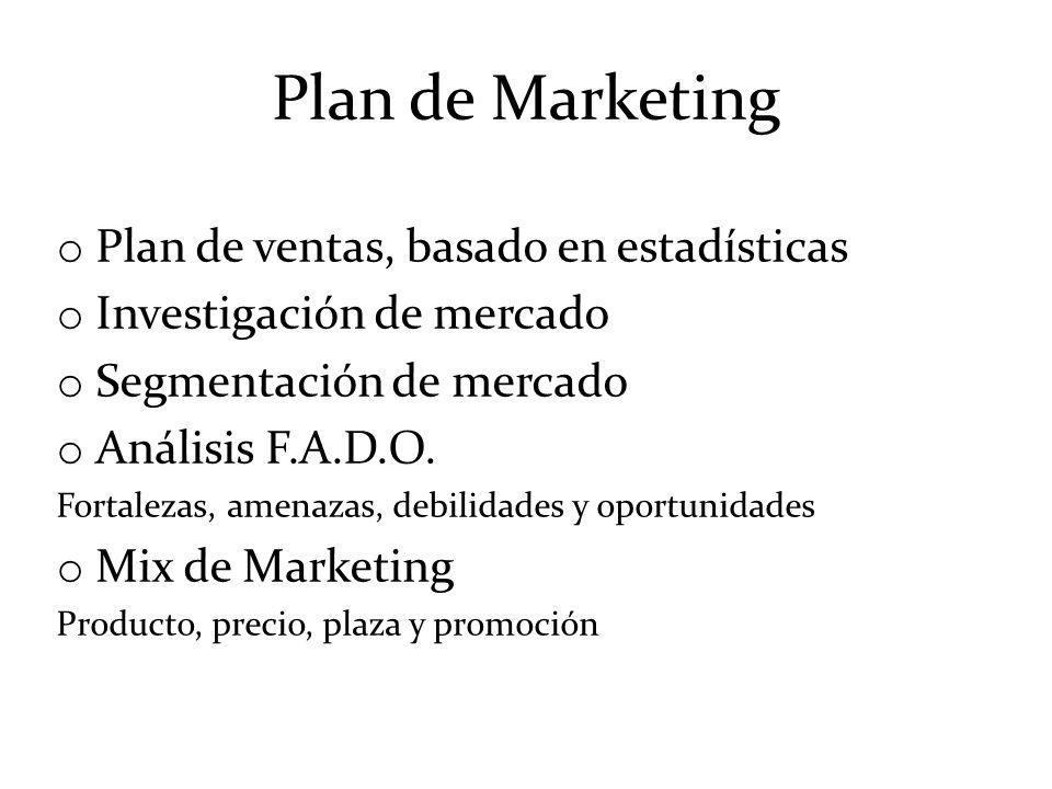 Plan de Marketing o Plan de ventas, basado en estadísticas o Investigación de mercado o Segmentación de mercado o Análisis F.A.D.O. Fortalezas, amenaz