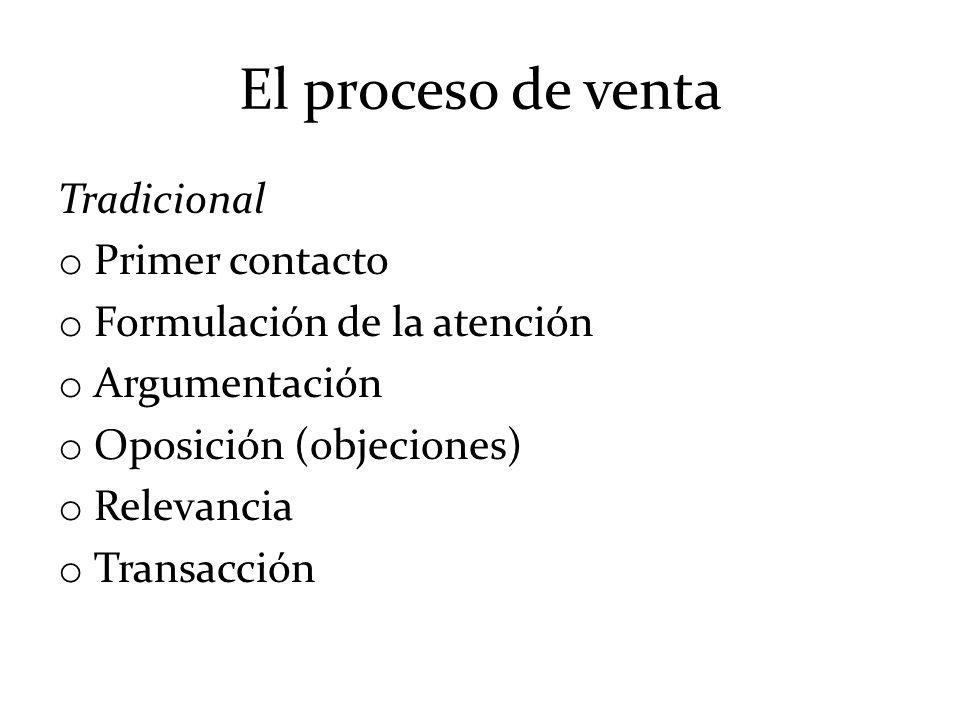 El proceso de venta Tradicional o Primer contacto o Formulación de la atención o Argumentación o Oposición (objeciones) o Relevancia o Transacción