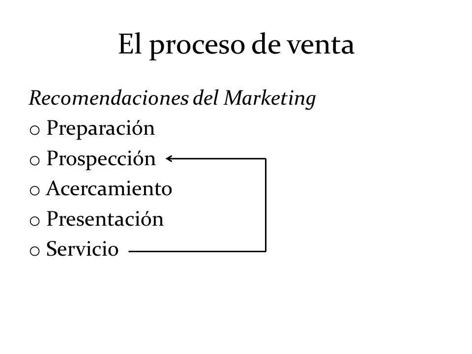El proceso de venta Recomendaciones del Marketing o Preparación o Prospección o Acercamiento o Presentación o Servicio