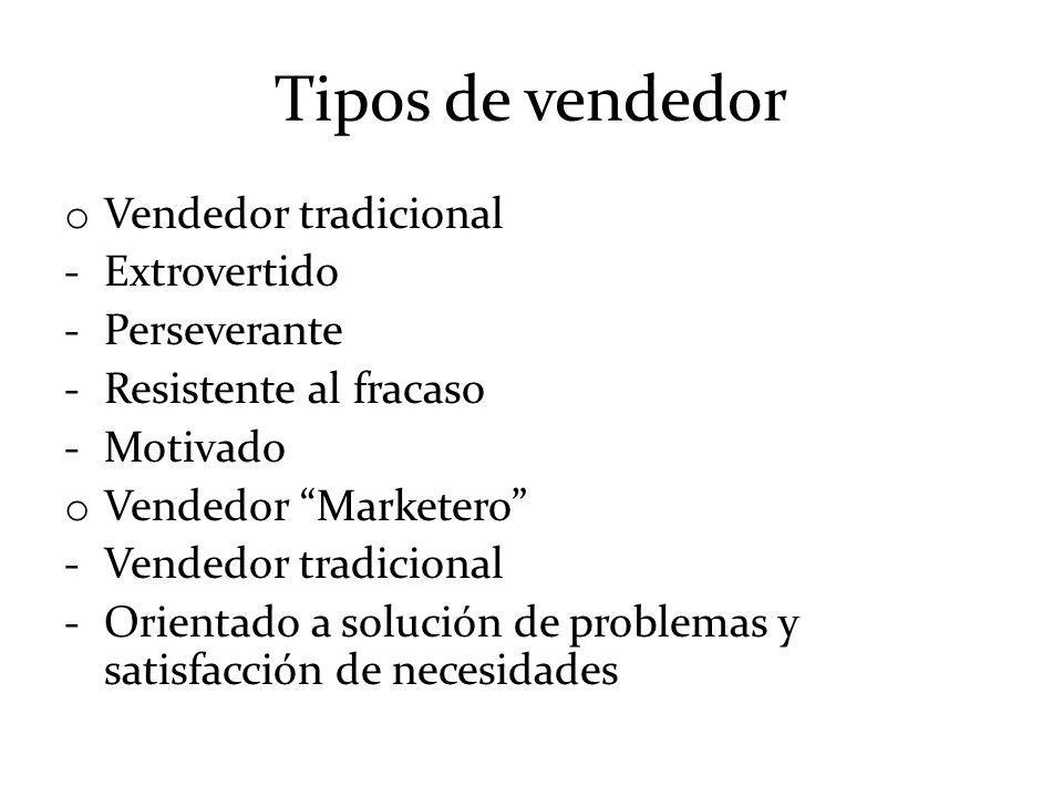 Tipos de vendedor o Vendedor tradicional -Extrovertido -Perseverante -Resistente al fracaso -Motivado o Vendedor Marketero -Vendedor tradicional -Orie