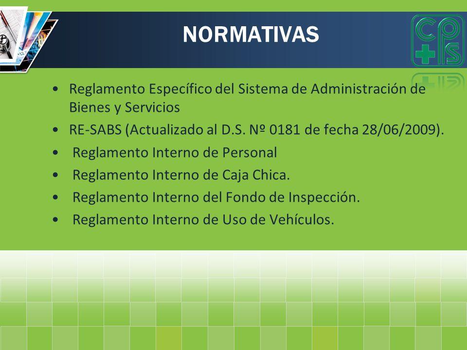 NORMATIVAS Reglamento Específico del Sistema de Administración de Bienes y Servicios RE-SABS (Actualizado al D.S. Nº 0181 de fecha 28/06/2009). Reglam