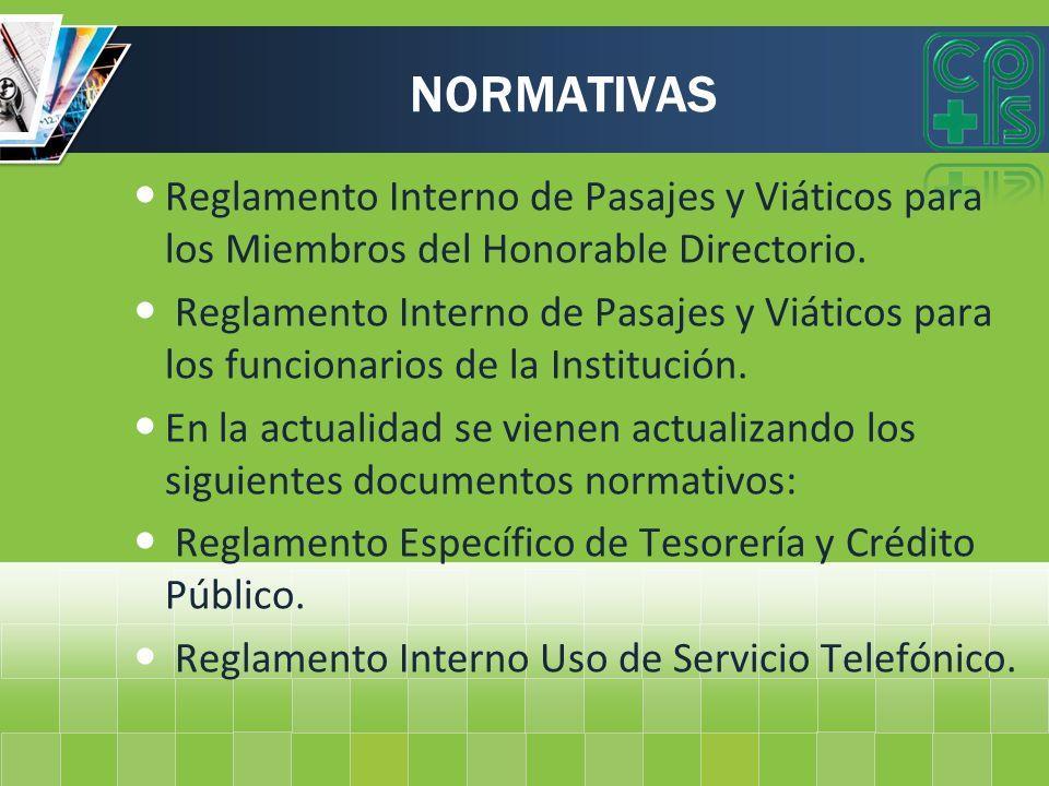 NORMATIVAS Reglamento Interno de Pasajes y Viáticos para los Miembros del Honorable Directorio. Reglamento Interno de Pasajes y Viáticos para los func