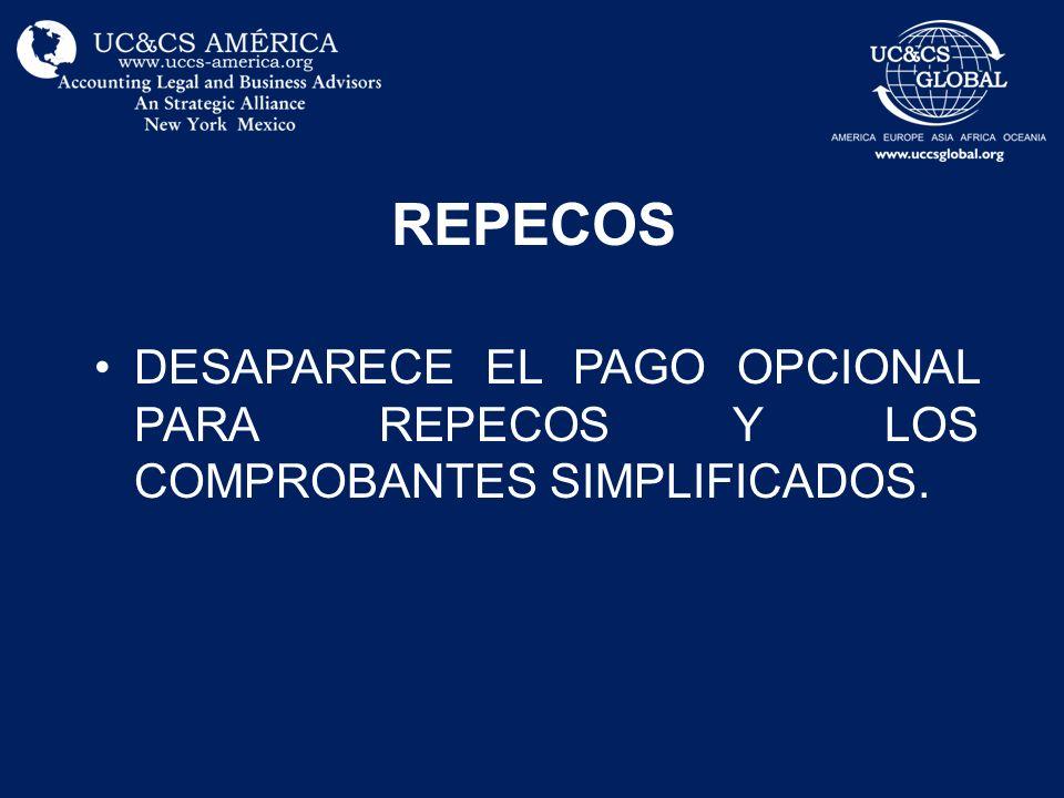 REPECOS DESAPARECE EL PAGO OPCIONAL PARA REPECOS Y LOS COMPROBANTES SIMPLIFICADOS.
