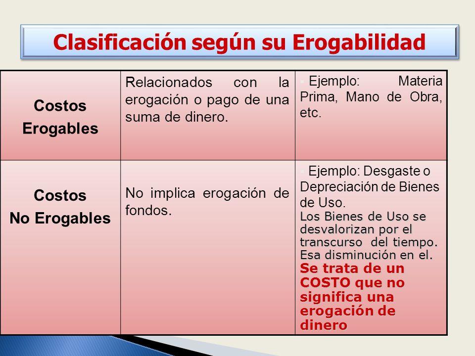 Clasificación según su Erogabilidad Costos Erogables Relacionados con la erogación o pago de una suma de dinero.