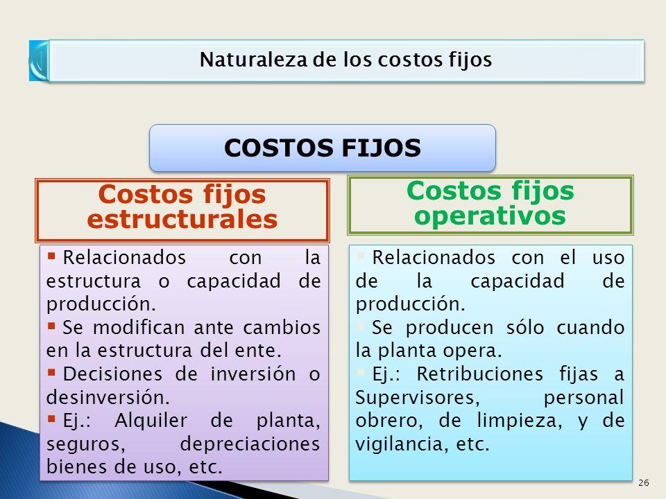 Naturaleza de los costos fijos Relacionados con la estructura o capacidad de producción.