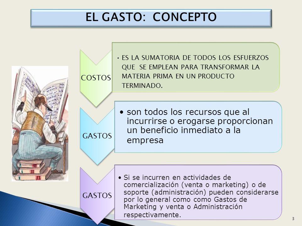 DIFERENCIA ENTRE COSTOS Y GASTOS - SE CAPITALIZAN - FORMA EL PRODUCTO - SE TANSFIERE – COMERCIALIZA - ACUMULA EN UN PROCESO TRANSFORMACION - NO SE RECUPERA - ADMINISTRACION, VENTA, FINANCIAMIENTO - SE CONSUME EN LA EMPRESA - INDEPENDIENTE A LA PRODUCCION COSTOS GASTOS 4