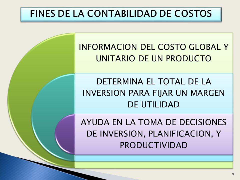 FINES DE LA CONTABILIDAD DE COSTOS INFORMACION DEL COSTO GLOBAL Y UNITARIO DE UN PRODUCTO DETERMINA EL TOTAL DE LA INVERSION PARA FIJAR UN MARGEN DE UTILIDAD AYUDA EN LA TOMA DE DECISIONES DE INVERSION, PLANIFICACION, Y PRODUCTIVIDAD 9