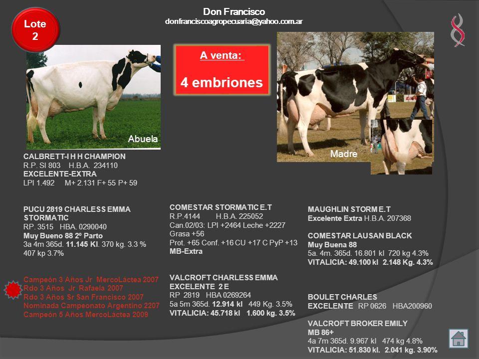A venta: 4 embriones Madre Abuela COMESTAR STORMATIC E.T R.P.4144 H.B.A. 225052 Can.02/03: LPI +2464 Leche +2227 Grasa +56 Prot. +65 Conf. +16 CU +17