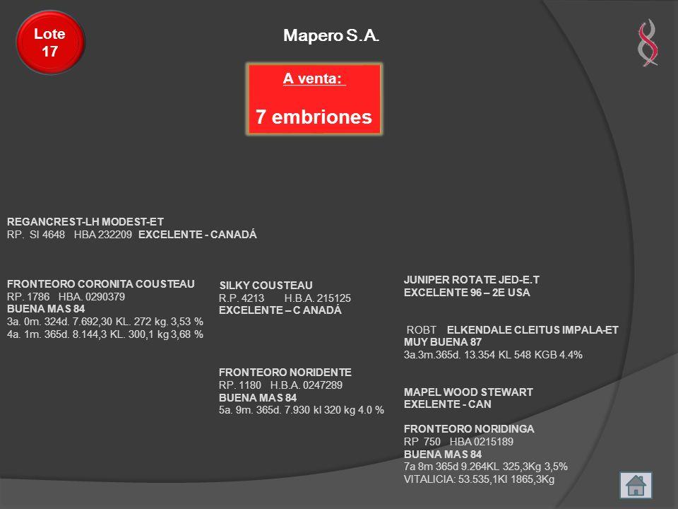 Mapero S.A. Lote 17 REGANCREST-LH MODEST-ET RP. SI 4648 HBA 232209 EXCELENTE - CANADÁ FRONTEORO CORONITA COUSTEAU RP. 1786 HBA. 0290379 BUENA MAS 84 3