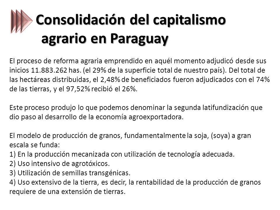 Consolidación del capitalismo agrario en Paraguay El proceso de reforma agraria emprendido en aquél momento adjudicó desde sus inicios 11.883.262 has.