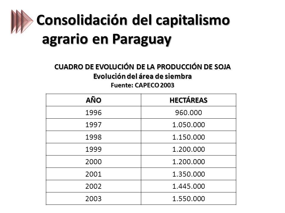 Consolidación del capitalismo agrario en Paraguay CUADRO DE EVOLUCIÓN DE LA PRODUCCIÓN DE SOJA Evolución del área de siembra Fuente: CAPECO 2003 AÑOHECTÁREAS 1996960.000 19971.050.000 19981.150.000 19991.200.000 20001.200.000 20011.350.000 20021.445.000 20031.550.000