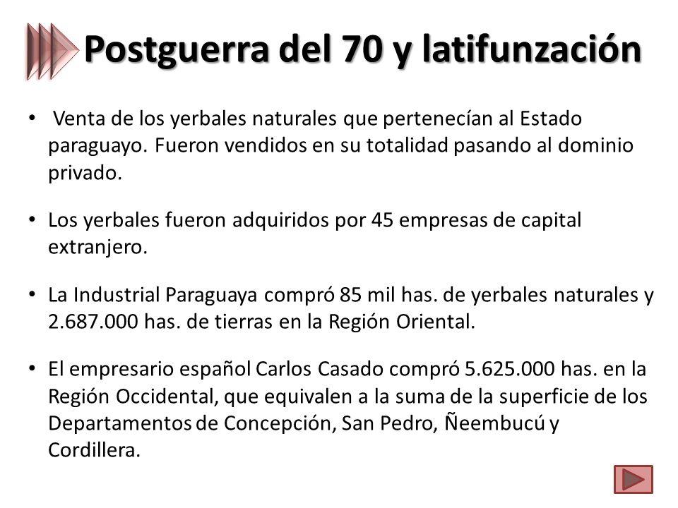Postguerra del 70 y latifunzación Venta de los yerbales naturales que pertenecían al Estado paraguayo.