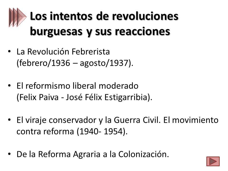 Los intentos de revoluciones burguesas y sus reacciones La Revolución Febrerista (febrero/1936 – agosto/1937).