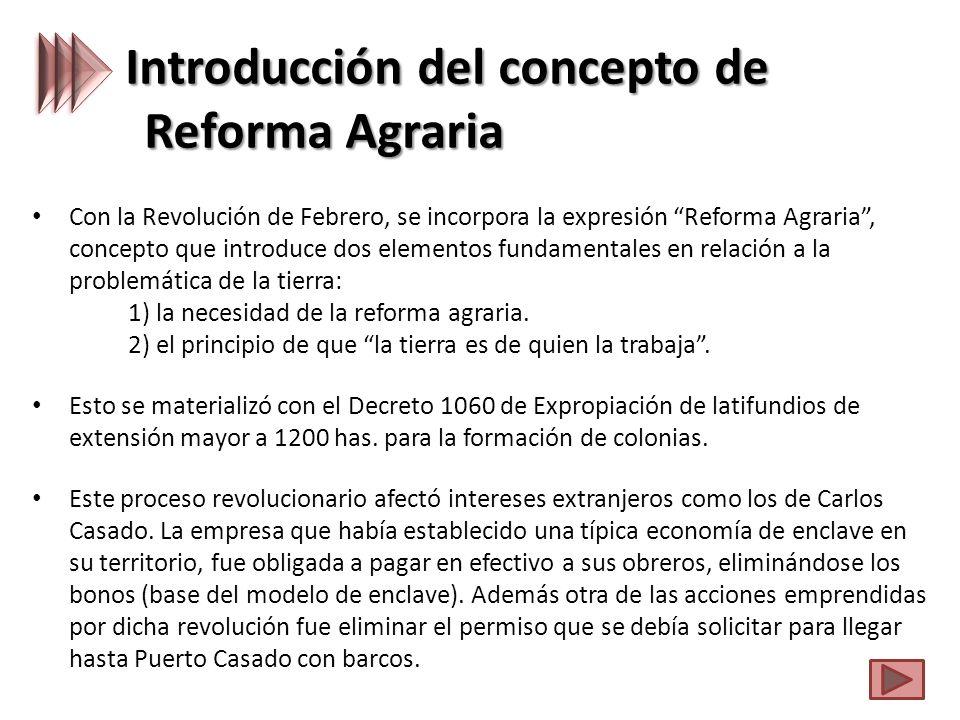 Introducción del concepto de Reforma Agraria Con la Revolución de Febrero, se incorpora la expresión Reforma Agraria, concepto que introduce dos elementos fundamentales en relación a la problemática de la tierra: 1) la necesidad de la reforma agraria.