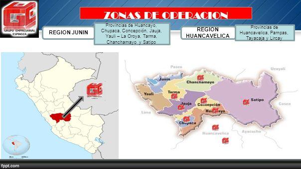ZONAS DE OPERACION REGION JUNIN Provincias de Huancayo, Chupaca, Concepción, Jauja, Yauli – La Oroya, Tarma, Chanchamayo y Satipo REGION HUANCAVELICA