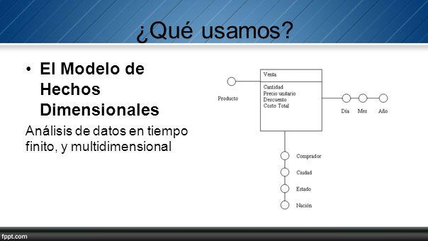 ¿Qué usamos? El Modelo de Hechos Dimensionales Análisis de datos en tiempo finito, y multidimensional