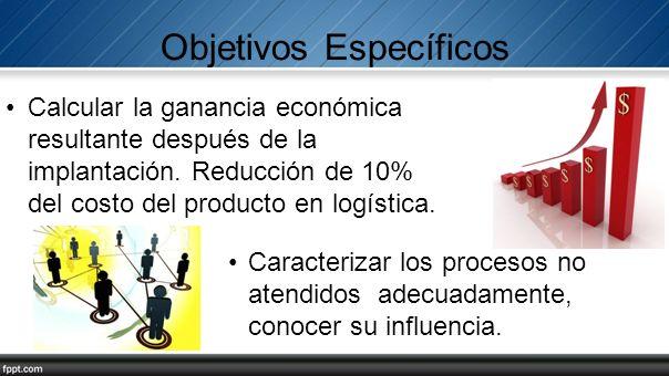 Objetivos Específicos Calcular la ganancia económica resultante después de la implantación. Reducción de 10% del costo del producto en logística. Cara