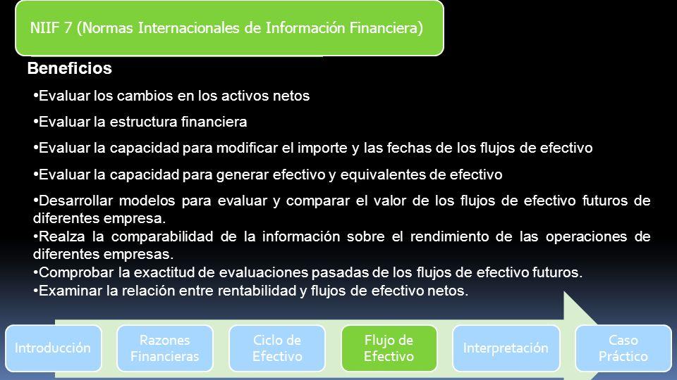 Introducción Razones Financieras Ciclo de Efectivo Flujo de Efectivo Interpretación Caso Práctico NIIF 7 (Normas Internacionales de Información Financ