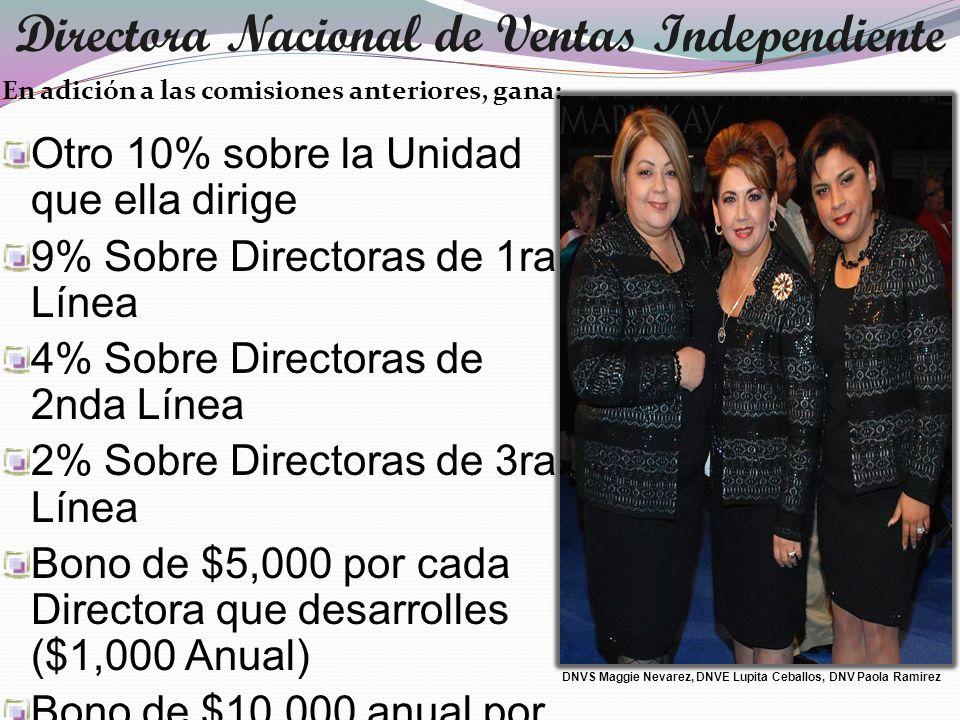En adición a las comisiones anteriores, gana: Otro 10% sobre la Unidad que ella dirige 9% Sobre Directoras de 1ra Línea 4% Sobre Directoras de 2nda Lí