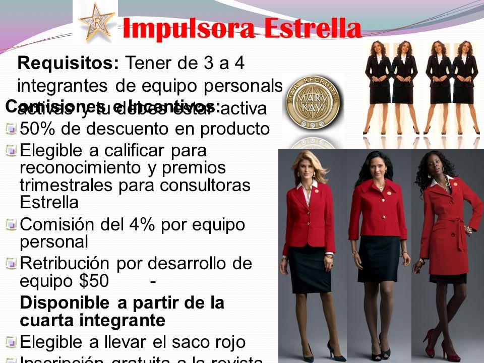 Impulsora Estrella Requisitos: Tener de 3 a 4 integrantes de equipo personals activas y tu debes estar activa Comisiones e Incentivos: 50% de descuent