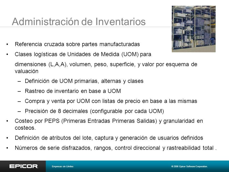 Administración de Inventarios Referencia cruzada sobre partes manufacturadas Clases logísticas de Unidades de Medida (UOM) para dimensiones (L,A,A), v