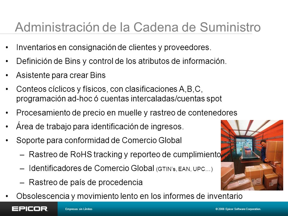Administración de la Cadena de Suministro Inventarios en consignación de clientes y proveedores. Definición de Bins y control de los atributos de info