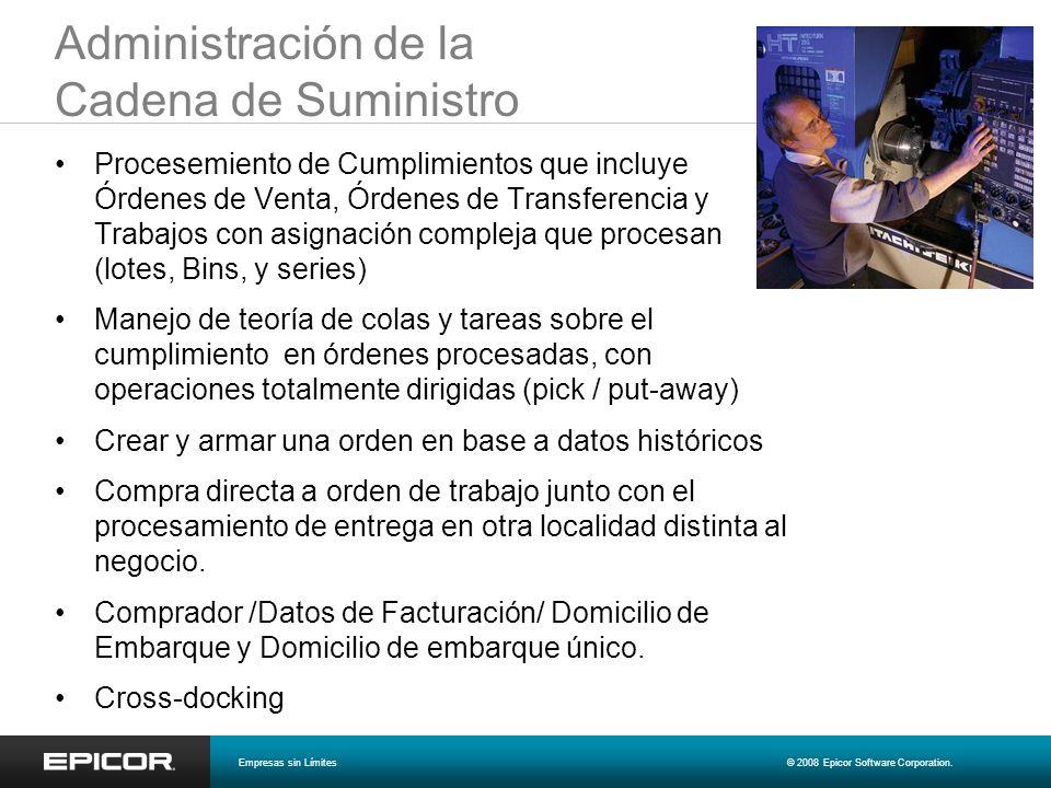 Administración de la Cadena de Suministro Procesemiento de Cumplimientos que incluye Órdenes de Venta, Órdenes de Transferencia y Trabajos con asignac