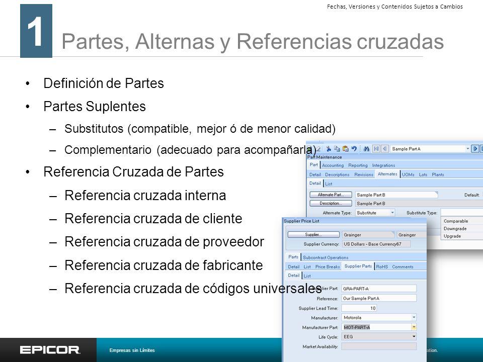 Partes, Alternas y Referencias cruzadas 1 Empresas sin Límites© 2008 Epicor Software Corporation. Fechas, Versiones y Contenidos Sujetos a Cambios Def