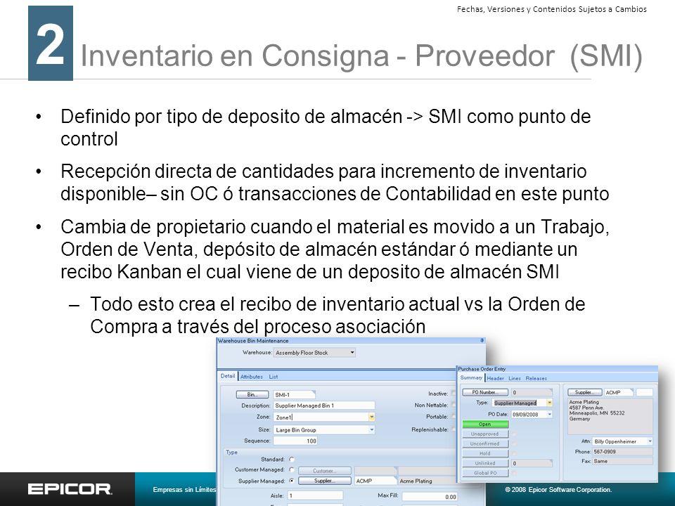 Inventario en Consigna - Proveedor (SMI) Definido por tipo de deposito de almacén -> SMI como punto de control Recepción directa de cantidades para in
