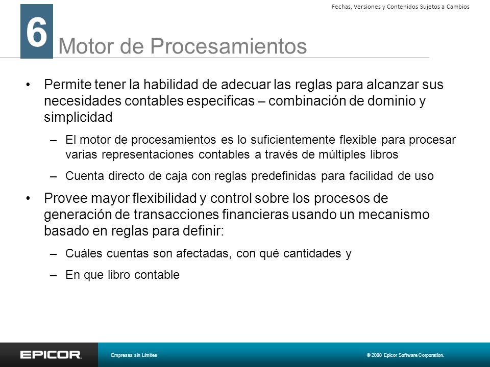 Motor de Procesamientos Permite tener la habilidad de adecuar las reglas para alcanzar sus necesidades contables especificas – combinación de dominio