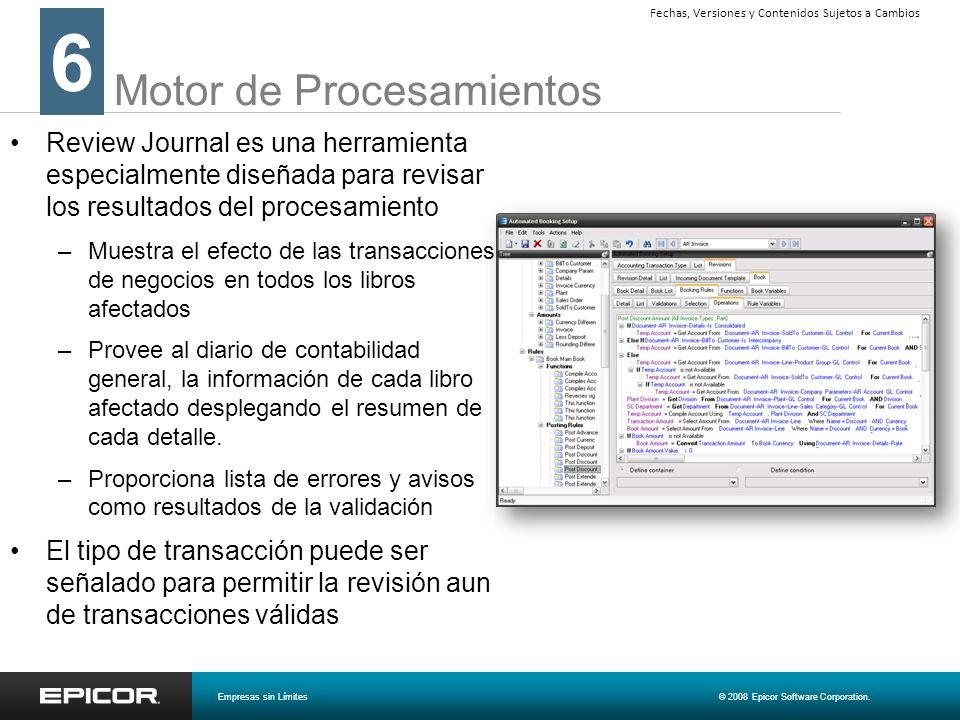 Motor de Procesamientos Review Journal es una herramienta especialmente diseñada para revisar los resultados del procesamiento –Muestra el efecto de l